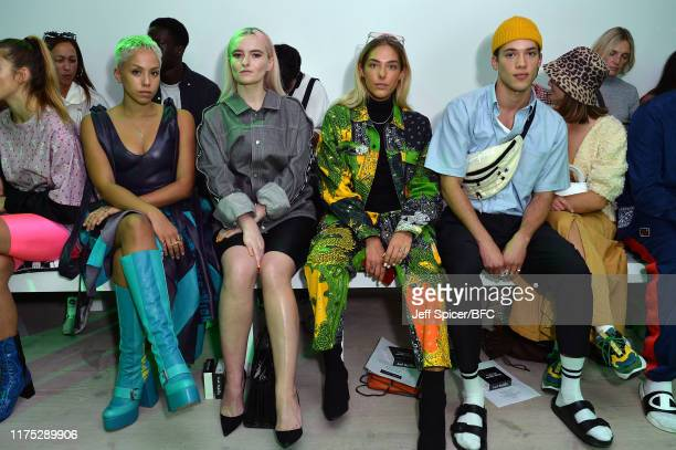 Poppy Ajudha Grace Chatto and Tayler Prince Fraser attend the Bobby Abley show during London Fashion Week September 2019 at the BFC Show Space on...