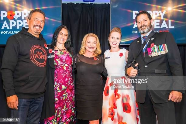 Poppy Ambassadors Mike King Tina Grant MC Kerre McIvor Rebecca Nelson and Willie Apiata VC during the RSA 2018 Poppy Appeal National Launch on April...