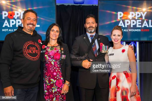 Poppy Ambassadors Mike King Tina Grant Rebecca Nelson and Willie Apiata VC during the RSA 2018 Poppy Appeal National Launch on April 10 2018 in...