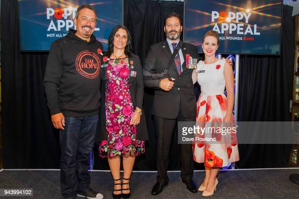 Poppy Ambassadors Mike King Tina Grant Willie Apiata VC and Rebecca Nelson during the RSA 2018 Poppy Appeal National Launch on April 10 2018 in...