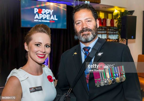 Poppy Ambassadors Rebecca Nelson and Willie Apiata VC during the RSA 2018 Poppy Appeal National Launch on April 10 2018 in Auckland New Zealand The...
