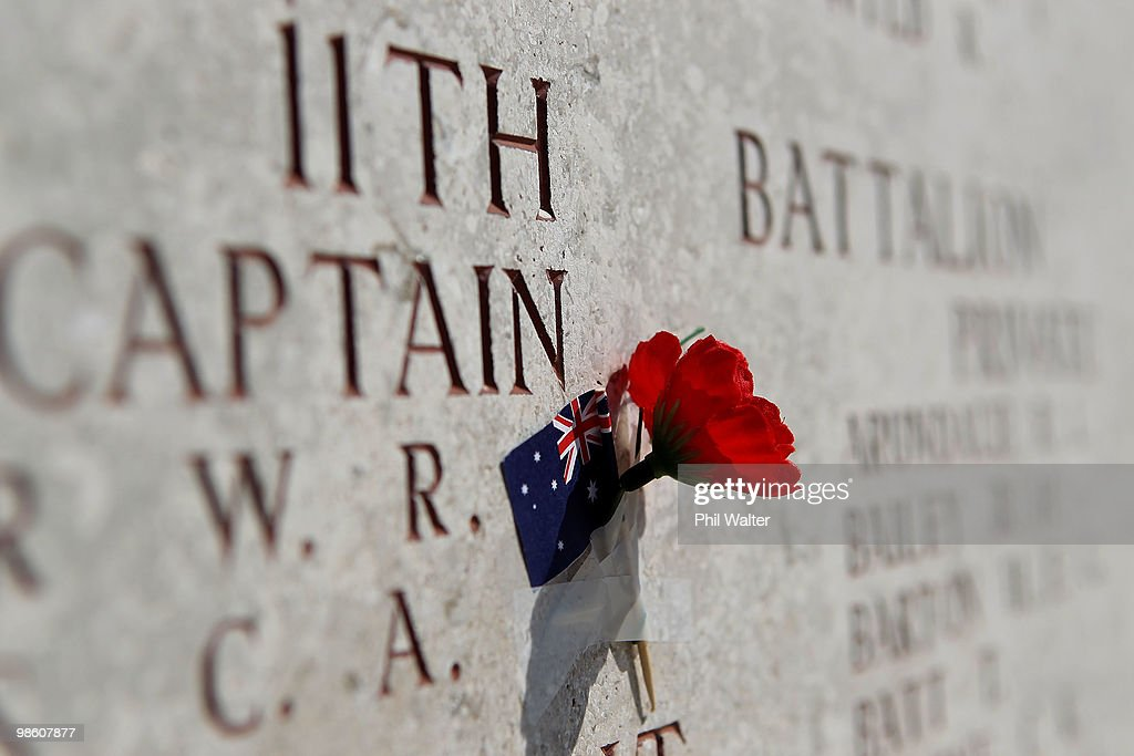 A poppy and Australian flag is attached to a war memorial at Anzac Cove honouring Australian soldiers killed in the First World War on April 22, 2010 in Gallipoli, Turkey. April 25 will commemorates the 95th anniversary of ANZAC (Australia New Zealand Army Corps) Day, when First World War troops landed on the Gallipoli Peninsula, Turkey early April 25, 1915. Today April 25 is commemorated with ceremonies of remembrance for those who fought and died in all wars.