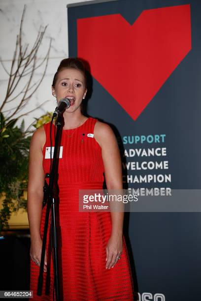 Poppy Appeal ambassador Rebecca Nelson sings during the RSA 2017 Poppy Appeal National Launch on April 5, 2017 in Auckland, New Zealand. Poppy Day is...