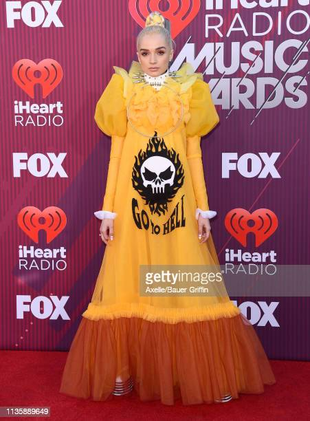 Poppy arrives at the 2019 iHeartRadio Music Awards which broadcasted live on FOX at Microsoft Theater on March 14, 2019 in Los Angeles, California.