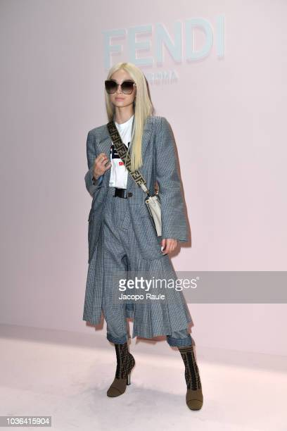 Poppy attends the Fendi show during Milan Fashion Week Spring/Summer 2019 on September 20 2018 in Milan Italy