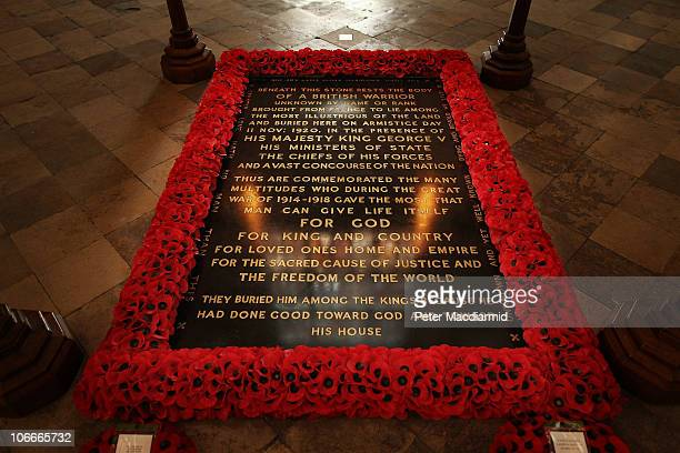 Poppy border surrounds the Grave of the Unknown Warrior at Westminster Abbey on November 10 2010 in London England The Duke of Edinburgh will attend...