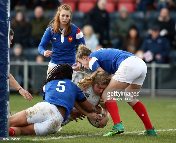 Poppy Cleall of England touches down for the fifth try during the Women's Six Nations match between England and France at Castle Park Donnybrook on...