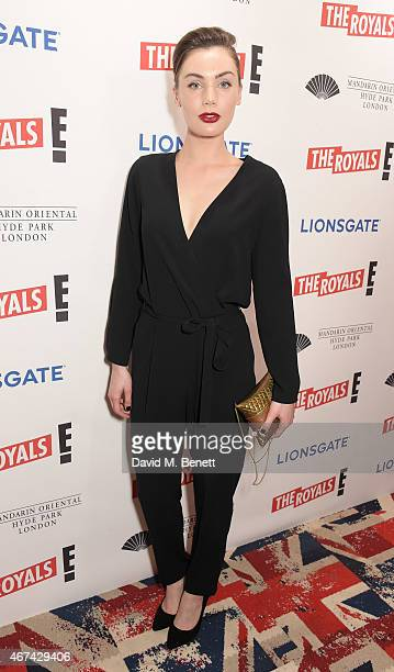 Poppy CorbyTuech attends the 'The Royals' UK premiere party at the Mandarin Oriental Hyde Park on March 24 2015 in London England 'The Royals' starts...