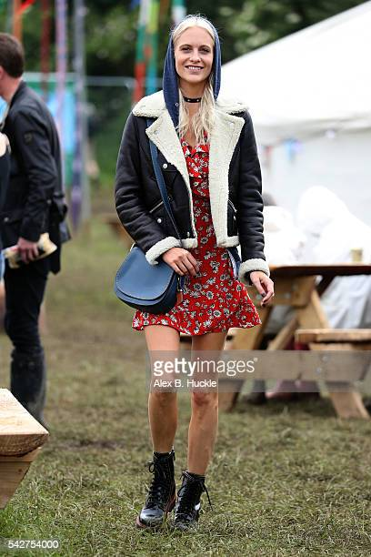 Poppy Delevigne wearing Coach attends the Glastonbury Festival at Worthy Farm Pilton on June 24 2016 in Glastonbury England