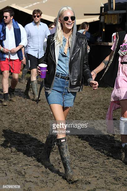 Poppy Delevigne attends the Glastonbury Festival at Worthy Farm Pilton on June 25 2016 in Glastonbury England