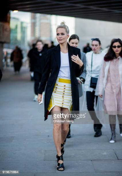 Poppy Delevigne seen outside Burberry during London Fashion Week February 2018 on February 17 2018 in London England