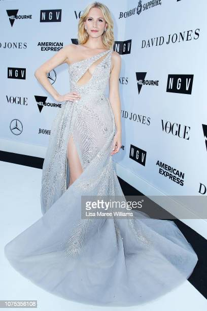 Poppy Delevingne actress and international model attends the NGV Gala wearing a bespoke gown created by Paolo Sebastian inspired by the American...