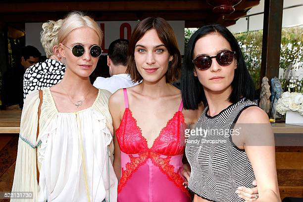 Poppy Delevingne Alexa Chung and Leigh Lezark attend the Villoid garden tea party hosted by Alexa Chung at the Hollywood Roosevelt Hotel on April 21...