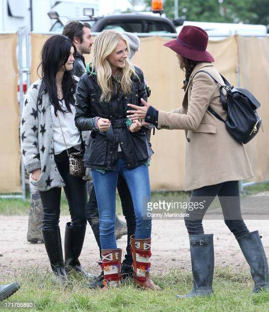 Poppy Delevingne Alexa Chung and Pixie Geldof during/performs at day 2 of the 2013 Glastonbury Festival at Worthy Farm on June 28 2013 in Glastonbury...
