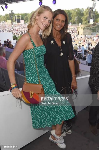Poppy Delevingne and Debonnaire von Bismarck attend the Teen Cancer America Suite at Bob Dylan and Neil Young in Hyde Park on July 12 2019 in London...