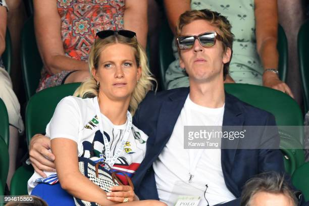 Poppy Delevingne and her husband James Cook attend day seven of the Wimbledon Tennis Championships at the All England Lawn Tennis and Croquet Club on...