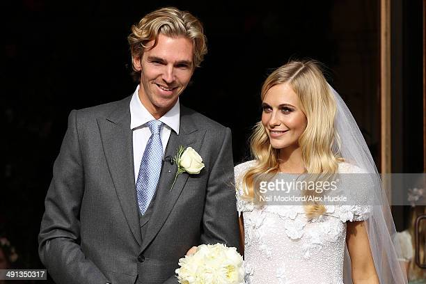 Poppy Delevingne and James Cook leaving St Paul's Church after their wedding on May 16 2014 in London England