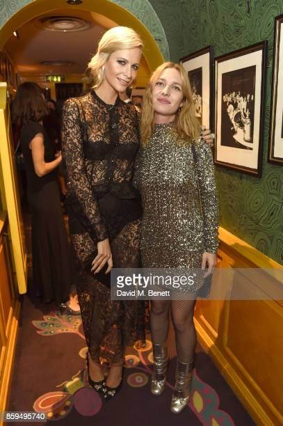Poppy Delevingne and Josephine de la Baume attend the Conde Nast Traveller 20th anniversary after party at Annabel's on October 9 2017 in London...