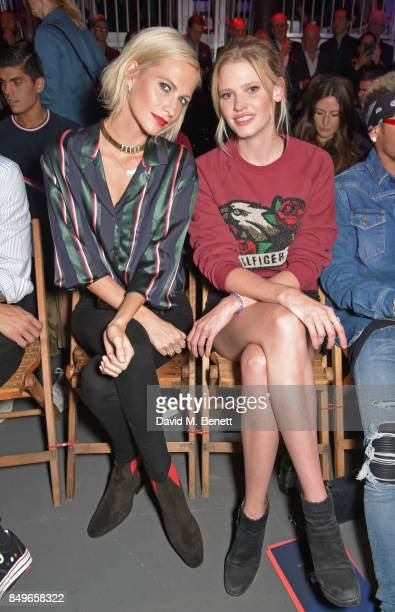 Poppy Delevingne and Lara Stone attend the Tommy Hilfiger TOMMYNOW Fall 2017 Show during London Fashion Week September 2017 at The Roundhouse on...