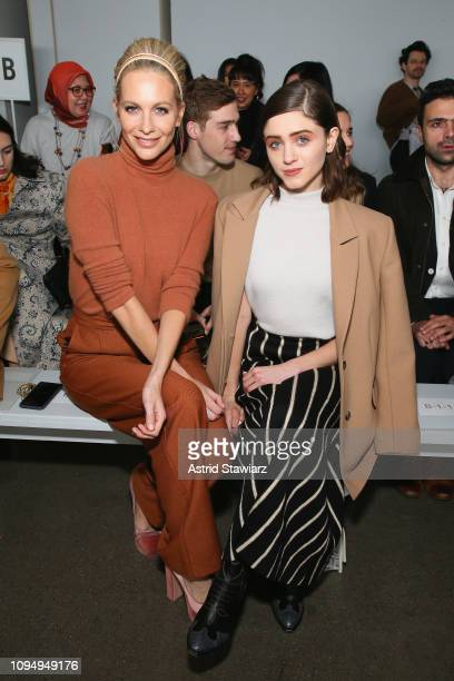 Poppy Delevingne and Natalia Dyer attend the Noon By Noor front row during New York Fashion Week The Shows at Gallery II at Spring Studios on...