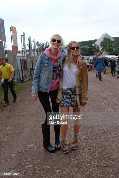 Poppy Delevingne and Sienna Miller attend day 2 of the Glastonbury Festvial on June 24 2017 in Glastonbury England