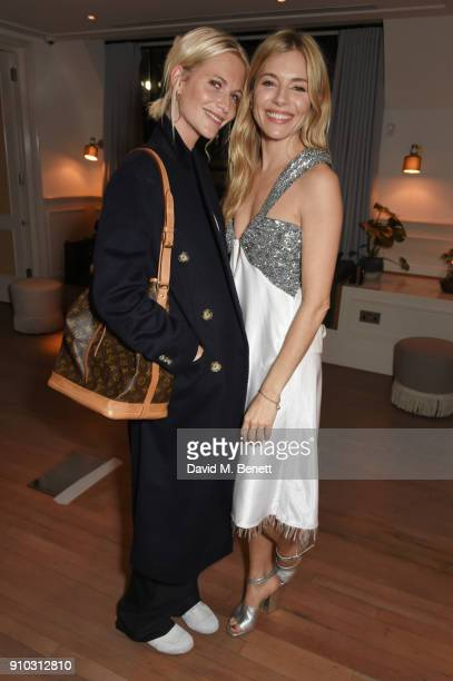 Poppy Delevingne and Sienna Miller attend the launch of Teresa Tarmey's new 'at home facial system' at Mortimer House sponsored by CIROC on January...