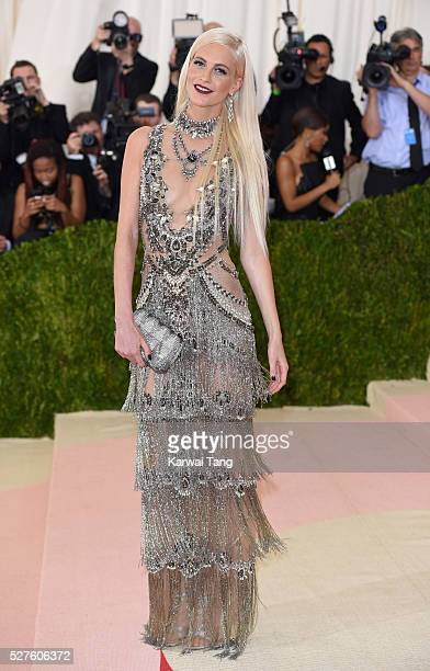 Poppy Delevingne arrives for the 'Manus x Machina Fashion In An Age Of Technology' Costume Institute Gala at Metropolitan Museum of Art on May 2 2016...