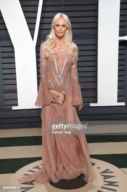 Poppy Delevingne arrives for the Vanity Fair Oscar Party hosted by Graydon Carter at the Wallis Annenberg Center for the Performing Arts on February...