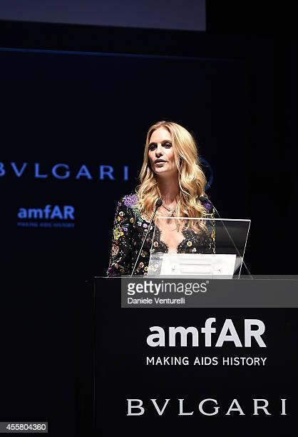 Poppy Delevingne attends amfAR Milano 2014 as a part of Milan Fashion Week Womenswear Spring/Summer 2015 on September 20 2014 in Milan Italy