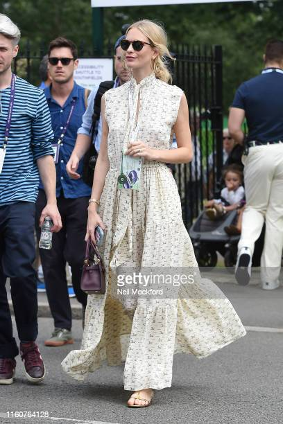 Poppy Delevingne attends day 7 of the Wimbledon 2019 Tennis Championships at All England Lawn Tennis and Croquet Club on July 08, 2019 in London,...
