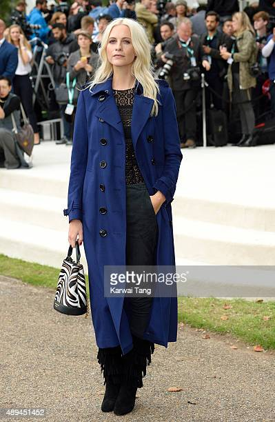 Poppy Delevingne attends the Burberry Prorsum show during London Fashion Week Spring/Summer 2016/17 at Kensington Gardens on September 21 2015 in...
