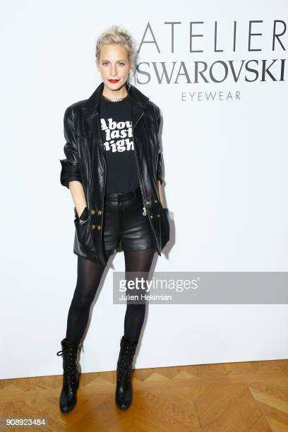 Poppy Delevingne attends the Swarovski Eyewear Diner as part of Paris Fashion Week at Hotel Crillon on January 22 2018 in Paris France