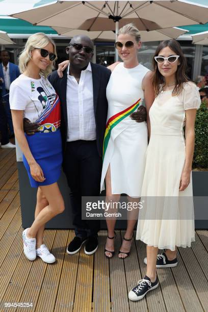 Poppy Delevingne Edward Enninful Lara Stone and Alexa Chung attend the Polo Ralph Lauren and British Vogue Wimbledon day on July 9 2018 in London...