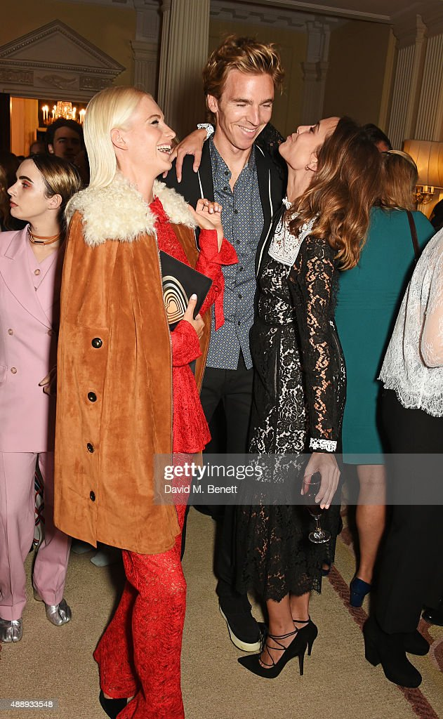 Poppy Delevingne, James Cook and Alexa Chung attend the London Fashion Week party hosted by Ambassador Matthew Barzun and Mrs Brooke Brown Barzun with Alexandra Shulman, in association with J. Crew, at American Ambassadors Residence, Winfield House,Regents Park on September 18, 2015 in London, England.