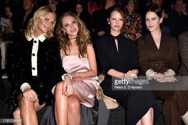 Poppy Delevingne Juno Temple Mia Goth and Rachel Brosnahan attend the Prada Show during Milan Fashion Week Fall/Winter 2019/20 on February 21 2019 in...
