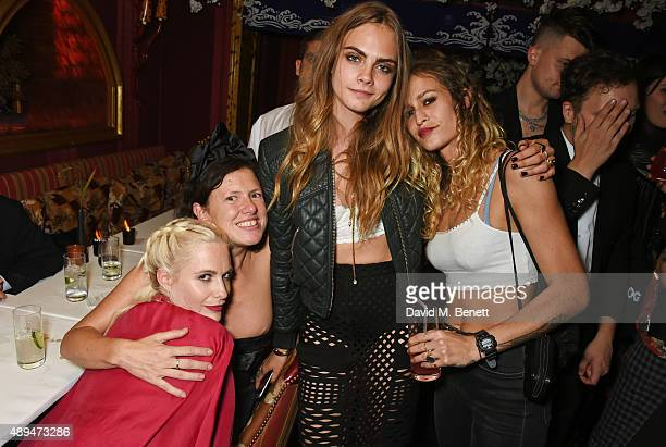 Poppy Delevingne Katie Grand Cara Delevingne and Alice Dellal attend the Love Magazine miu miu London Fashion Week party at Loulou's on September 21...