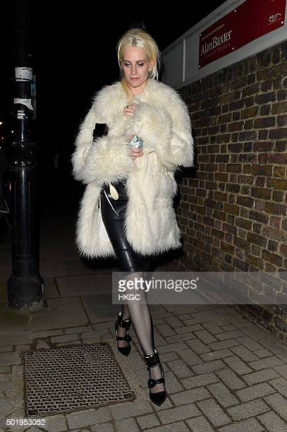 Poppy Delevingne leaves Keith Richard's birthday celebration held at a private residence on December 18 2015 in London England