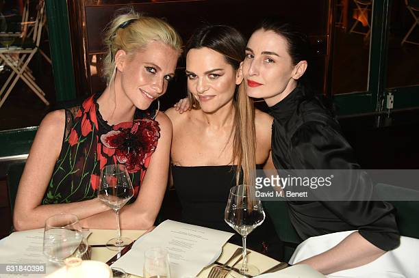 Poppy Delevingne Maria Hatzistefanis and Erin O'Connor attend the Rodial dinner hosted by Poppy Delevingne and Maria Hatzistefanis at Casa Cruz on...