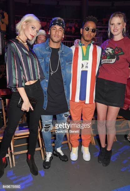 Poppy Delevingne Neymar Lewis Hamilton and Lara Stone attend the Tommy Hilfiger TOMMYNOW Fall 2017 Show during London Fashion Week September 2017 at...