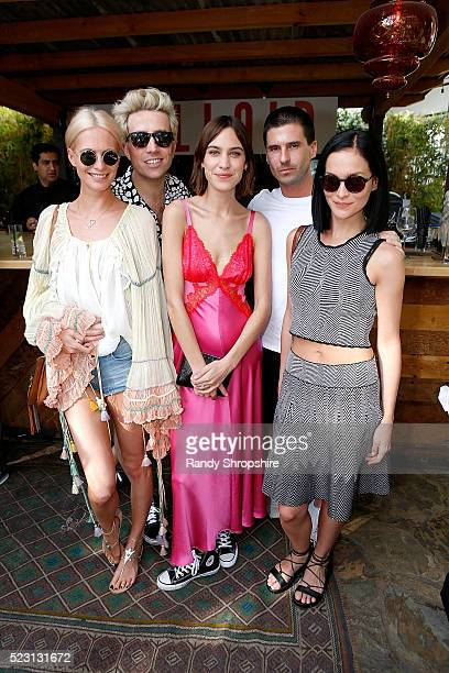 Poppy Delevingne Nick Grimshaw Alexa Chung Geordon Nicol and Leigh Lezark attend the Villoid garden tea party hosted by Alexa Chung at the Hollywood...