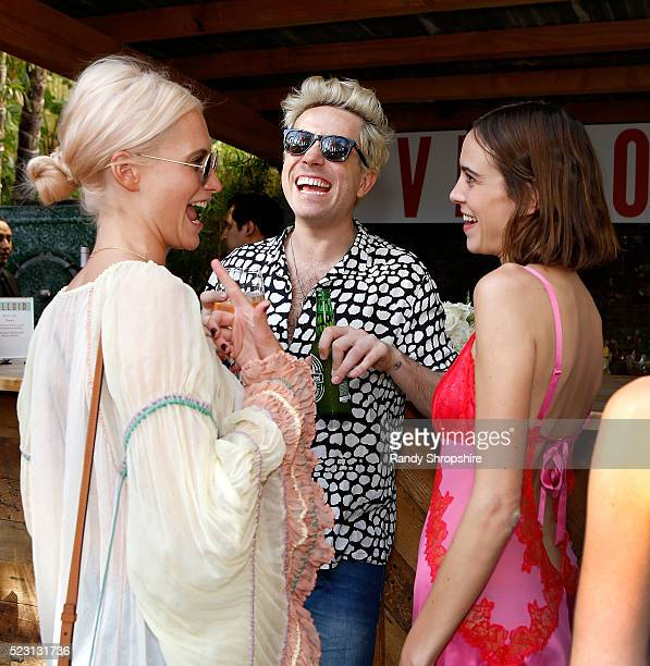 Poppy Delevingne Nick Grimshaw and Alexa Chung attend the Villoid garden tea party hosted by Alexa Chung at the Hollywood Roosevelt Hotel on April 21...