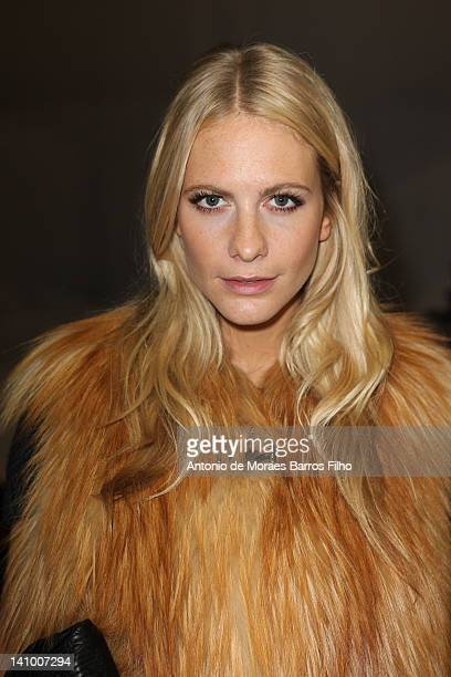 Poppy Delevingne seen in the backstage at the Louis Vuitton Ready-To-Wear Fall/Winter 2012 show as part of Paris Fashion Week on March 7, 2012 in...