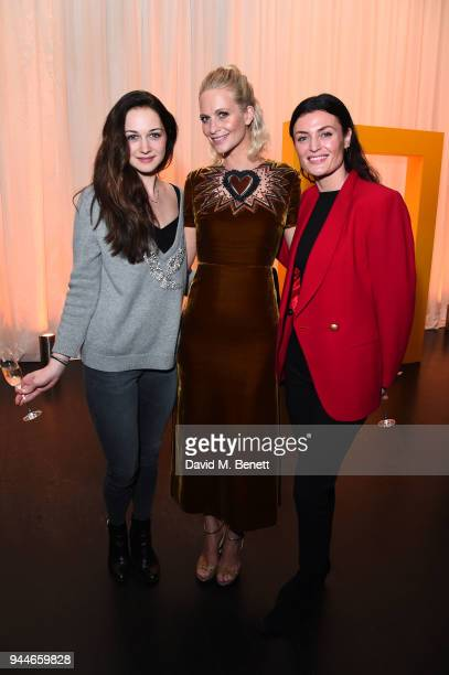 Poppy Delvingne with Lyne Renee and guest arrive for preview screening of Genius Picasso hosted by National Georgraphic on April 10 2018 in London...