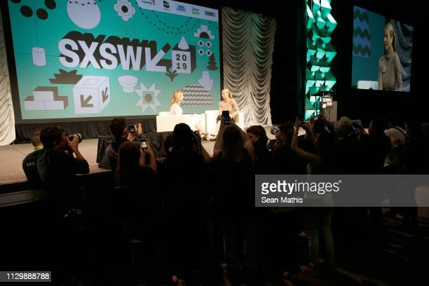 Poppy Harlow and Gwyneth Paltrow speak onstage at Featured Session Gwyneth Paltrow with Poppy Harlow during the 2019 SXSW Conference and Festivals at...