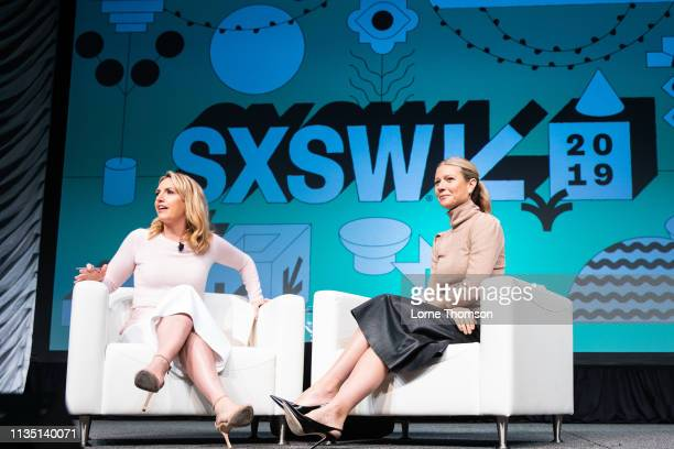 Poppy Harlow interviews Gwyneth Paltrow at Austin Convention Center on March 11 2019 in Austin Texas