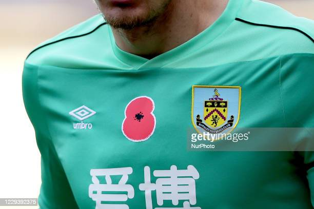 A poppy in support of armistice day is seen on the Burnley goalkeeper kit during the Premier League match between Burnley and Chelsea at Turf Moor...