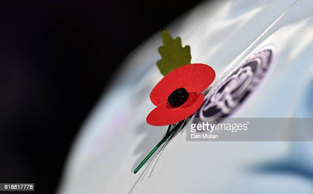 A poppy is attached to a Queens Park Rangers top during the Sky Bet Championship match between Queens Park Rangers and Brentford at Loftus Road on...