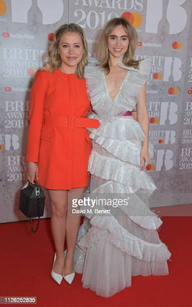Poppy Jamie and Suki Waterhouse arrive at The BRIT Awards 2019 held at The O2 Arena on February 20 2019 in London England
