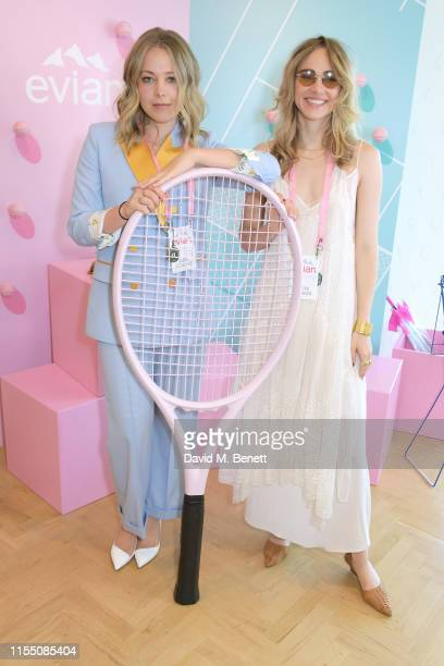 Poppy Jamie and Suki Waterhouse attend the evian Live Young suite at The Championships Wimbledon 2019 on July 11 2019 in London England