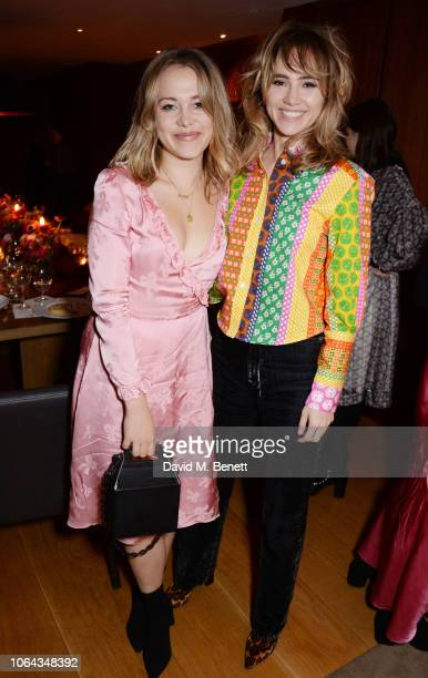 Poppy Jamieand Suki Waterhouse wearing ALEXACHUNG attend Alexa Chung's CHUNGSGIVING dinner to celebrate Thanksgiving and the launch of her exclusive...
